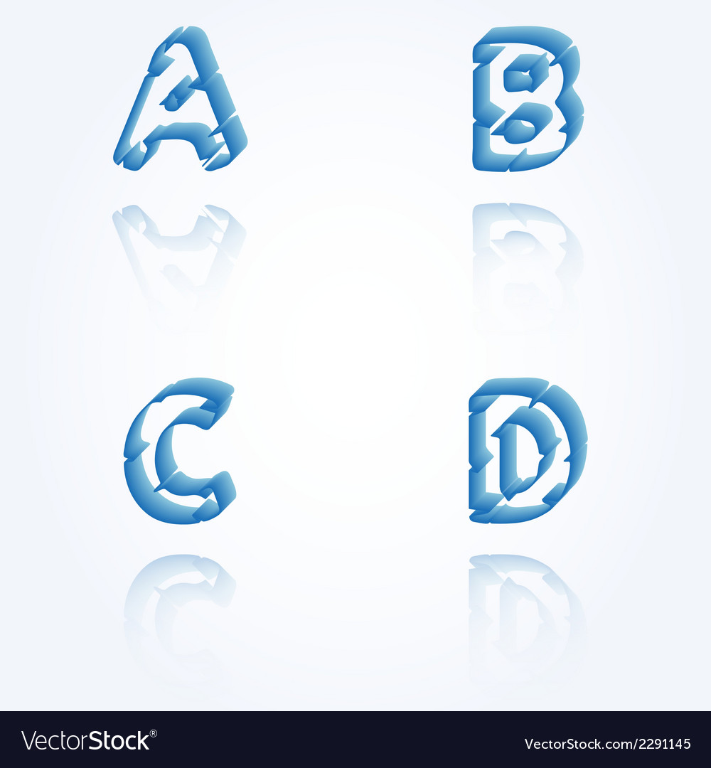 Sketch jagged alphabet letters a b c d vector | Price: 1 Credit (USD $1)