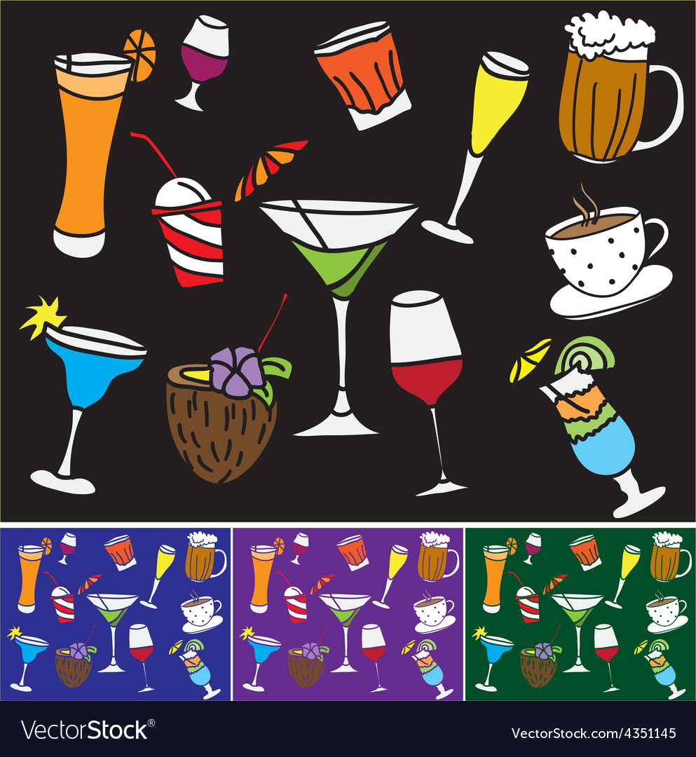 Some kinds of drinks and coctails vector | Price: 1 Credit (USD $1)