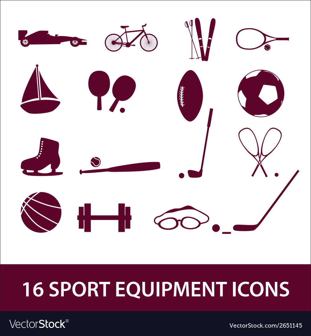 Sport equipment icon set eps10 vector | Price: 1 Credit (USD $1)
