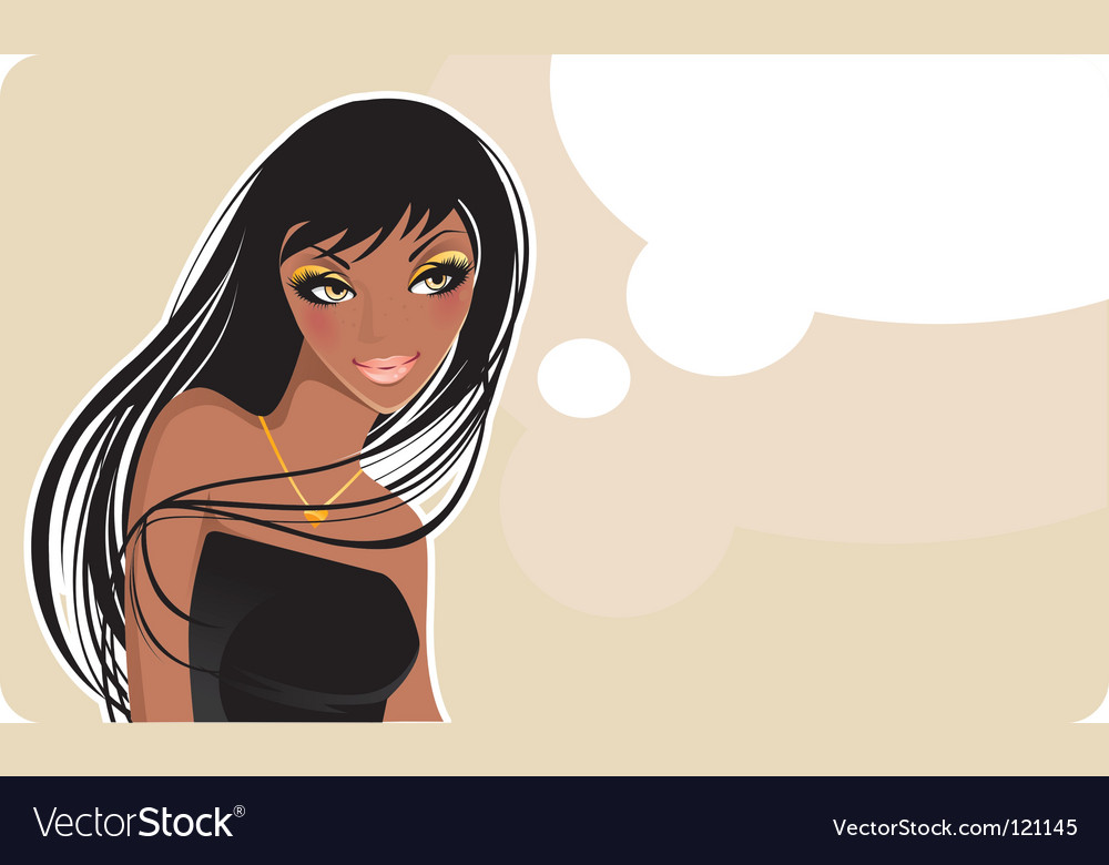 Thinking girl vector | Price: 1 Credit (USD $1)
