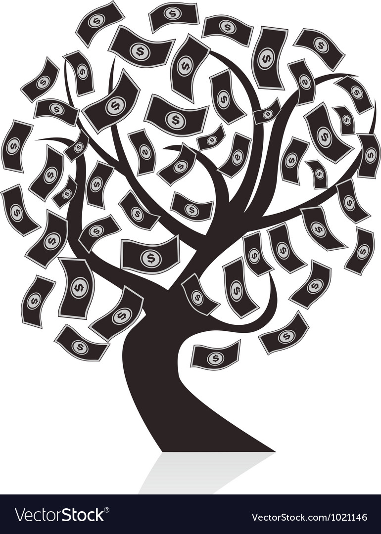 Black money tree vector | Price: 1 Credit (USD $1)