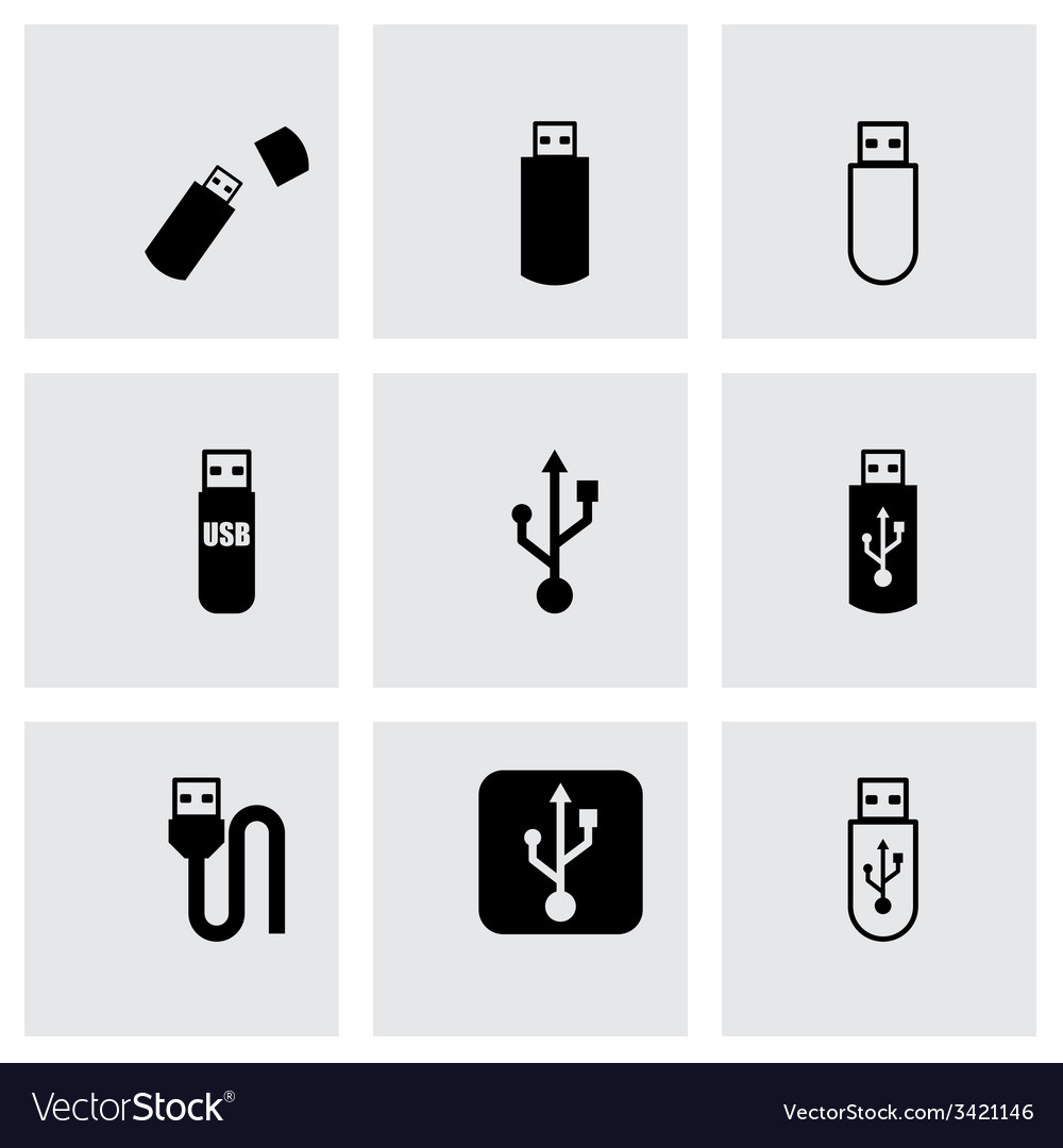 Black usb icon set vector | Price: 1 Credit (USD $1)