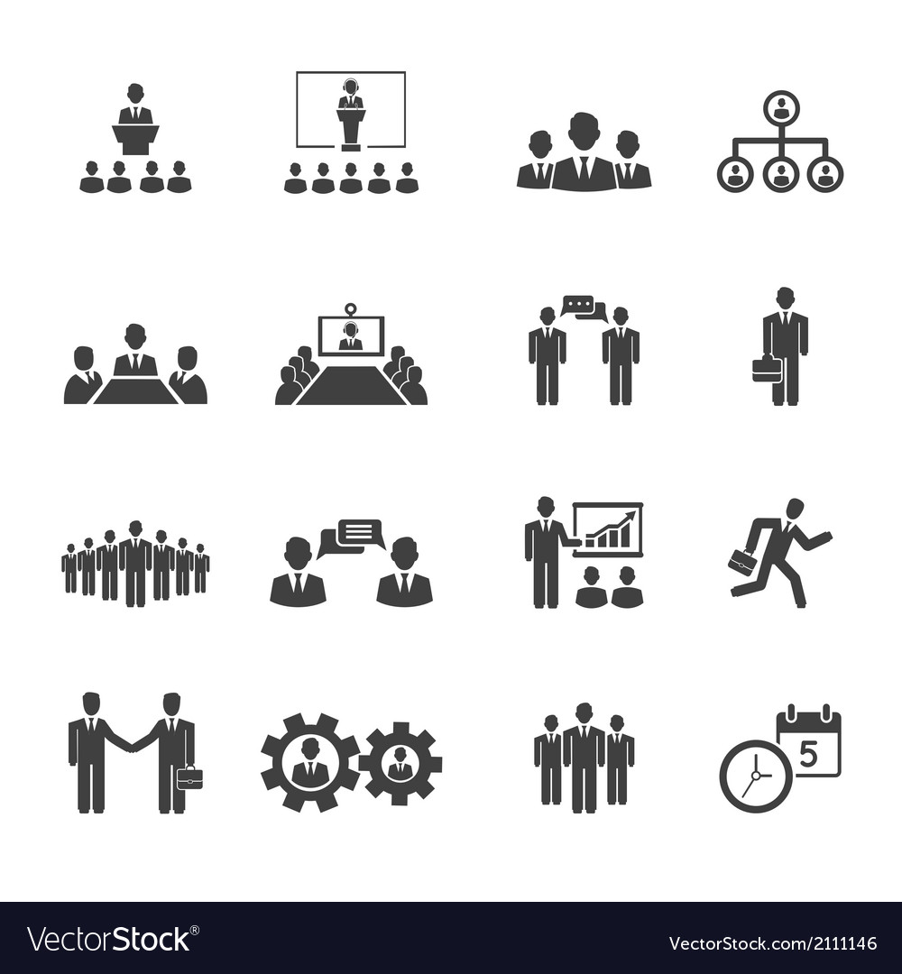 Business people meetings and conferences icons vector