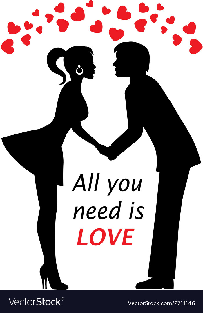 Couple in love and hearts vector | Price: 1 Credit (USD $1)