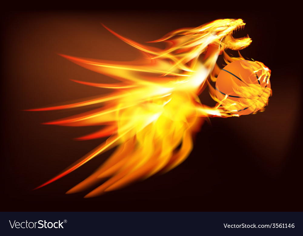 Fire dragon with a basketball vector | Price: 1 Credit (USD $1)