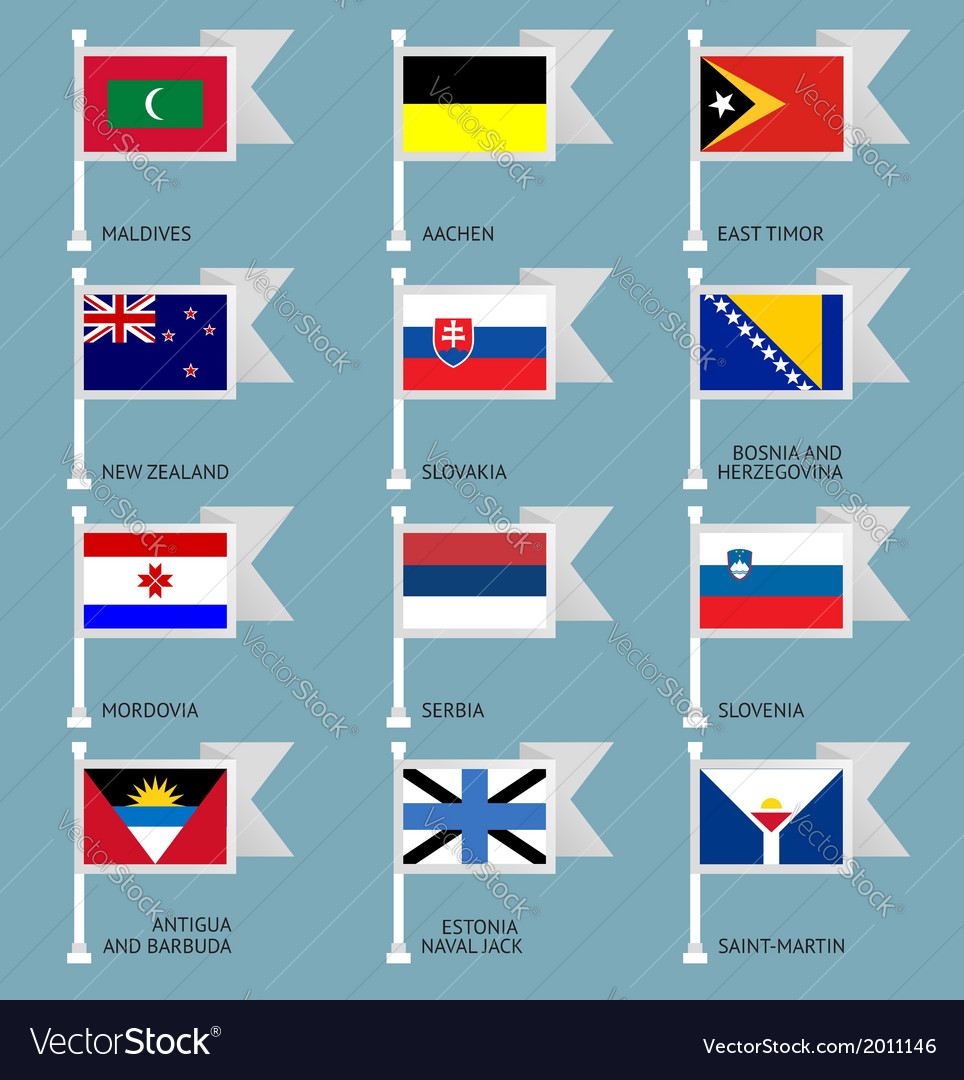 Flags set four-12 vector | Price: 1 Credit (USD $1)
