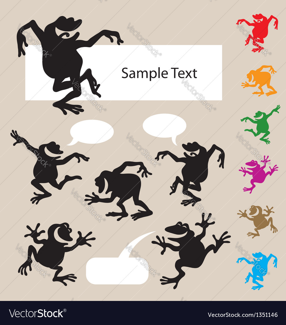 Frog dancing silhouettes 1 vector | Price: 1 Credit (USD $1)