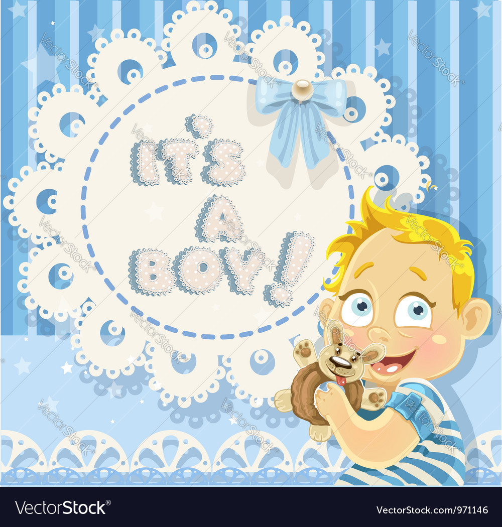 Its a boy blue openwork card for your announcement vector | Price: 3 Credit (USD $3)
