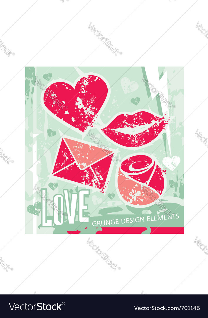 Love - grungy design elements vector | Price: 1 Credit (USD $1)