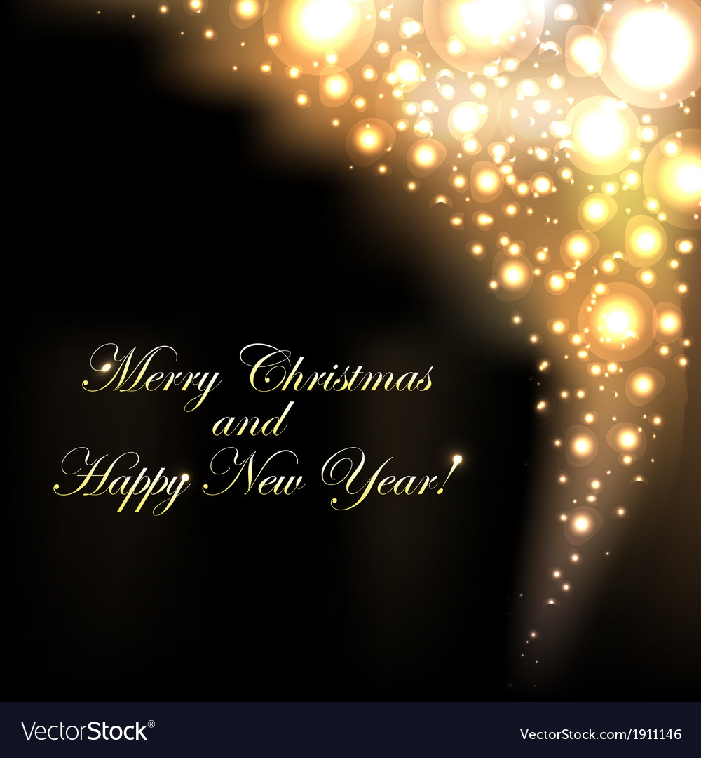Merry christmas golden background with bokeh vector