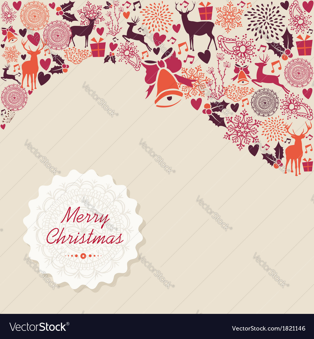 Merry christmas vintage elements background file vector | Price: 1 Credit (USD $1)