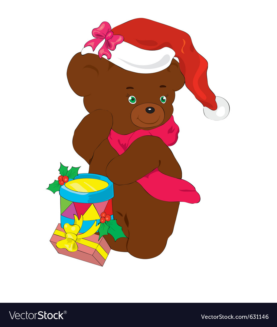 New years bear with gifts vector | Price: 1 Credit (USD $1)