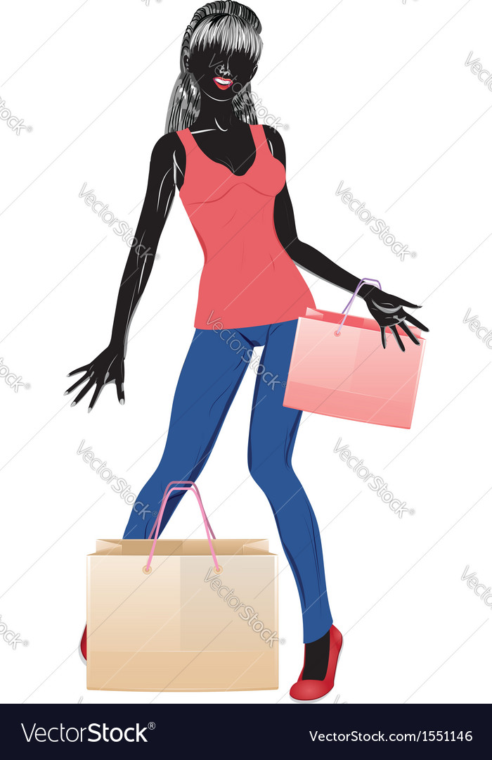 Silhouette of a shopping girl in casual wear vector | Price: 1 Credit (USD $1)