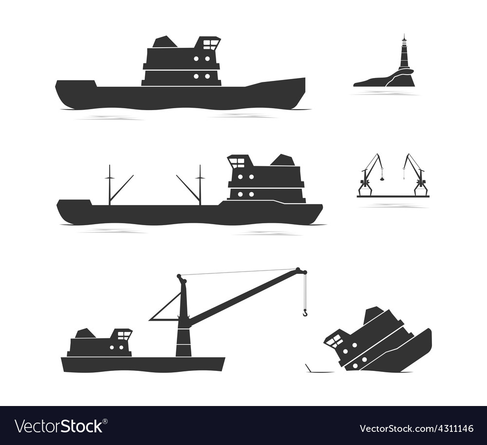 Silhouettes of cargo ships and floating crane vector | Price: 1 Credit (USD $1)