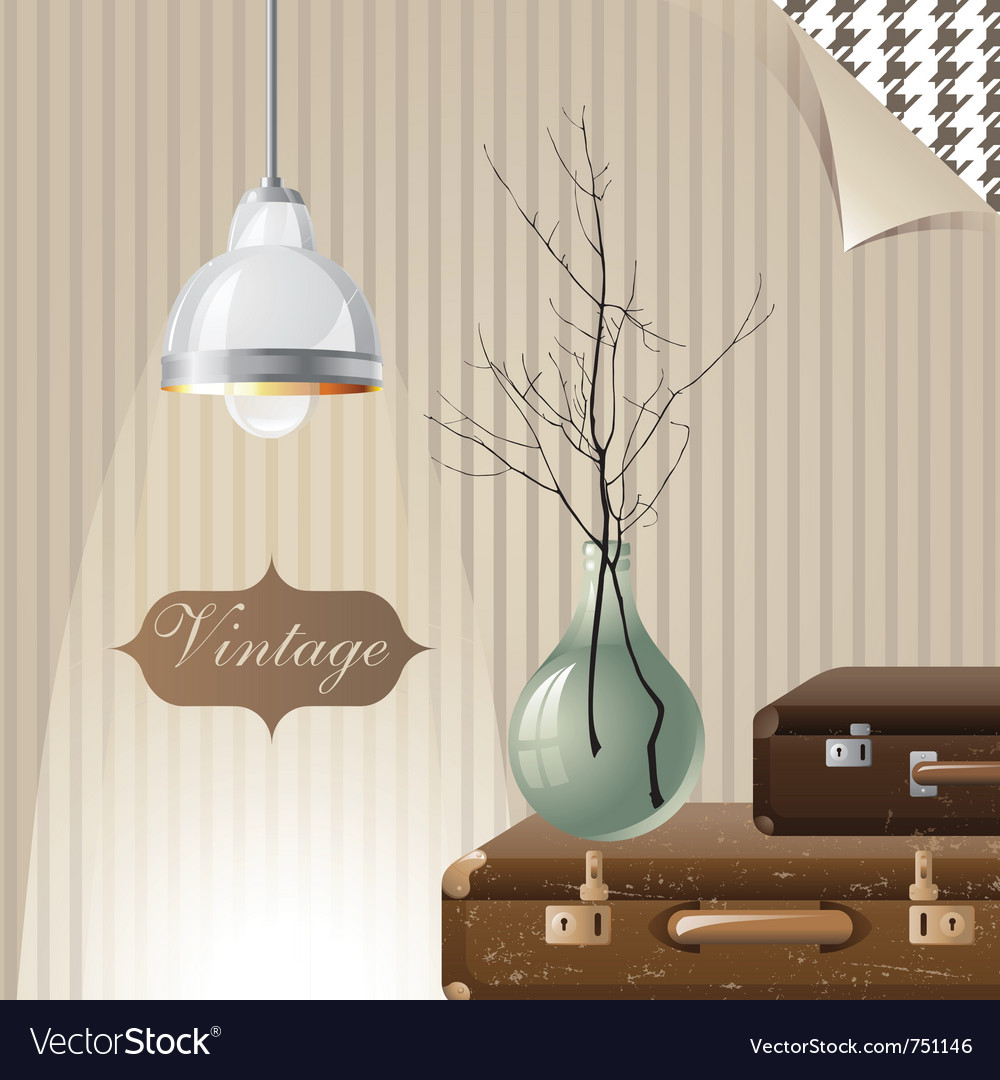 Vintage interior with suitcases and lamp vector | Price: 3 Credit (USD $3)