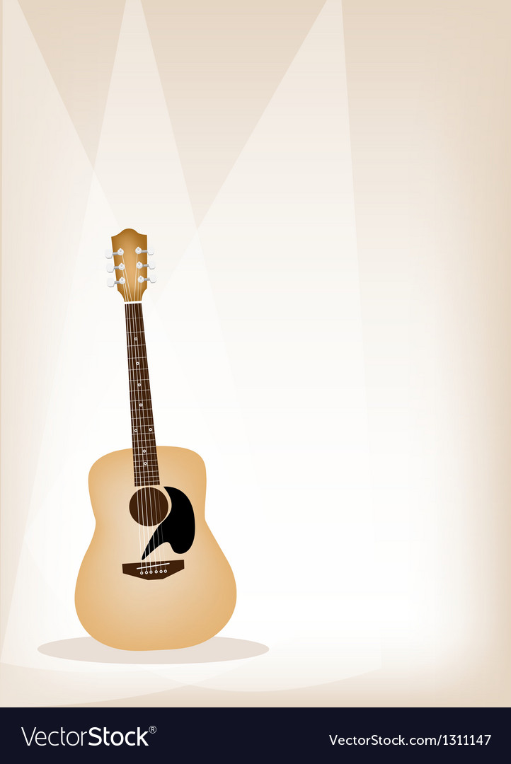A beautiful guitar on brown stage background vector | Price: 1 Credit (USD $1)
