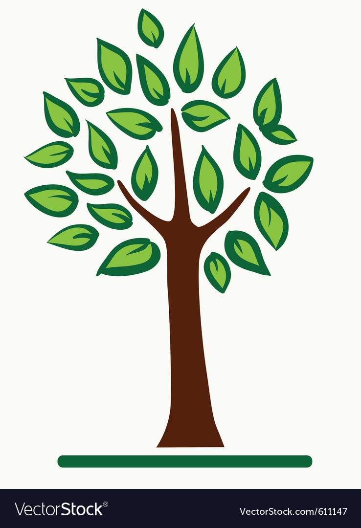 Abstract tree with green leafage vector | Price: 1 Credit (USD $1)