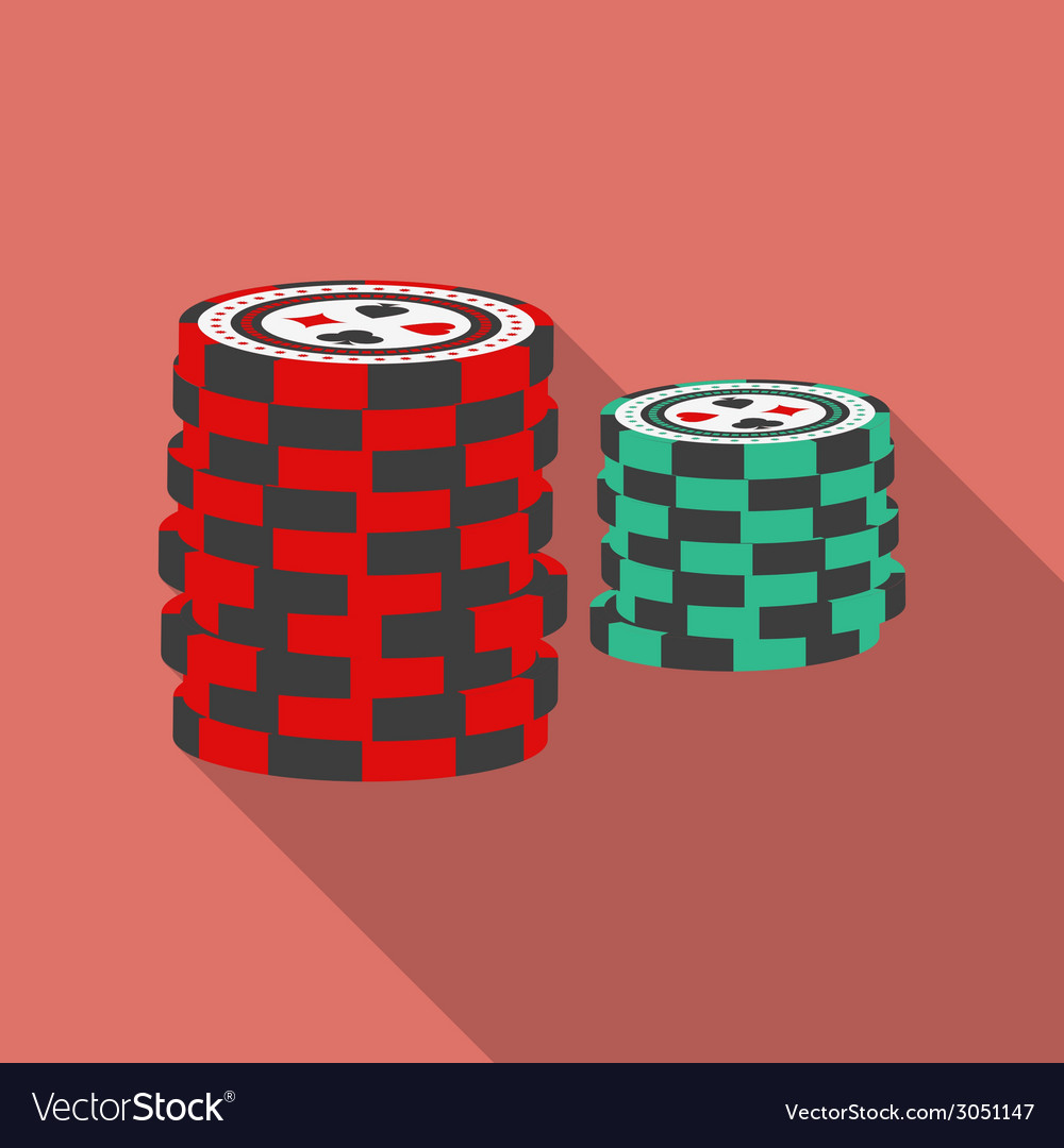 Casino chips icon modern flat style with a long vector | Price: 1 Credit (USD $1)