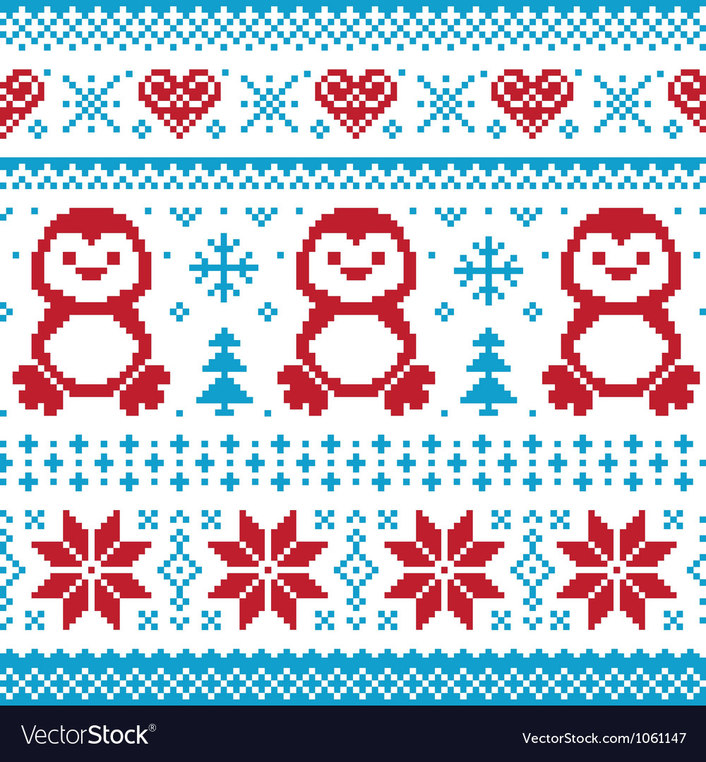 Christmas knitted pattern scandynavian sweater vector | Price: 1 Credit (USD $1)