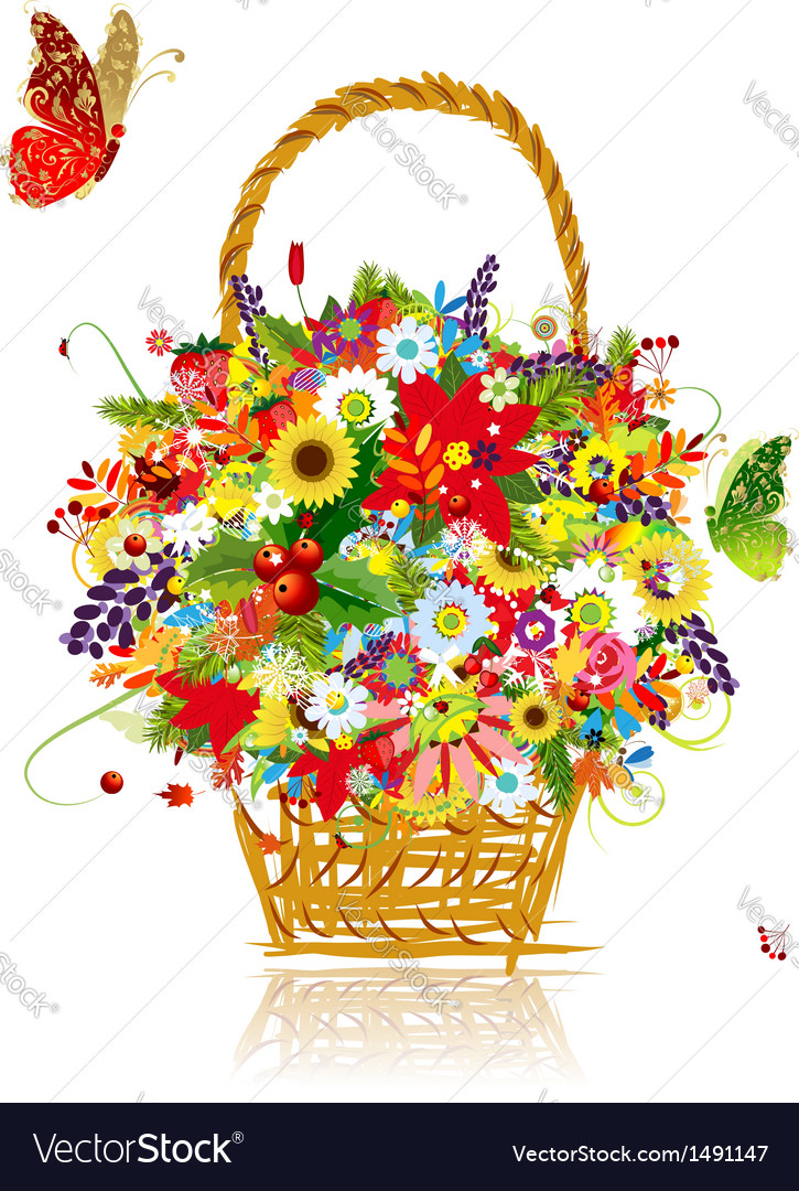 Four seasons basket with leaf and flowers for your vector | Price: 1 Credit (USD $1)