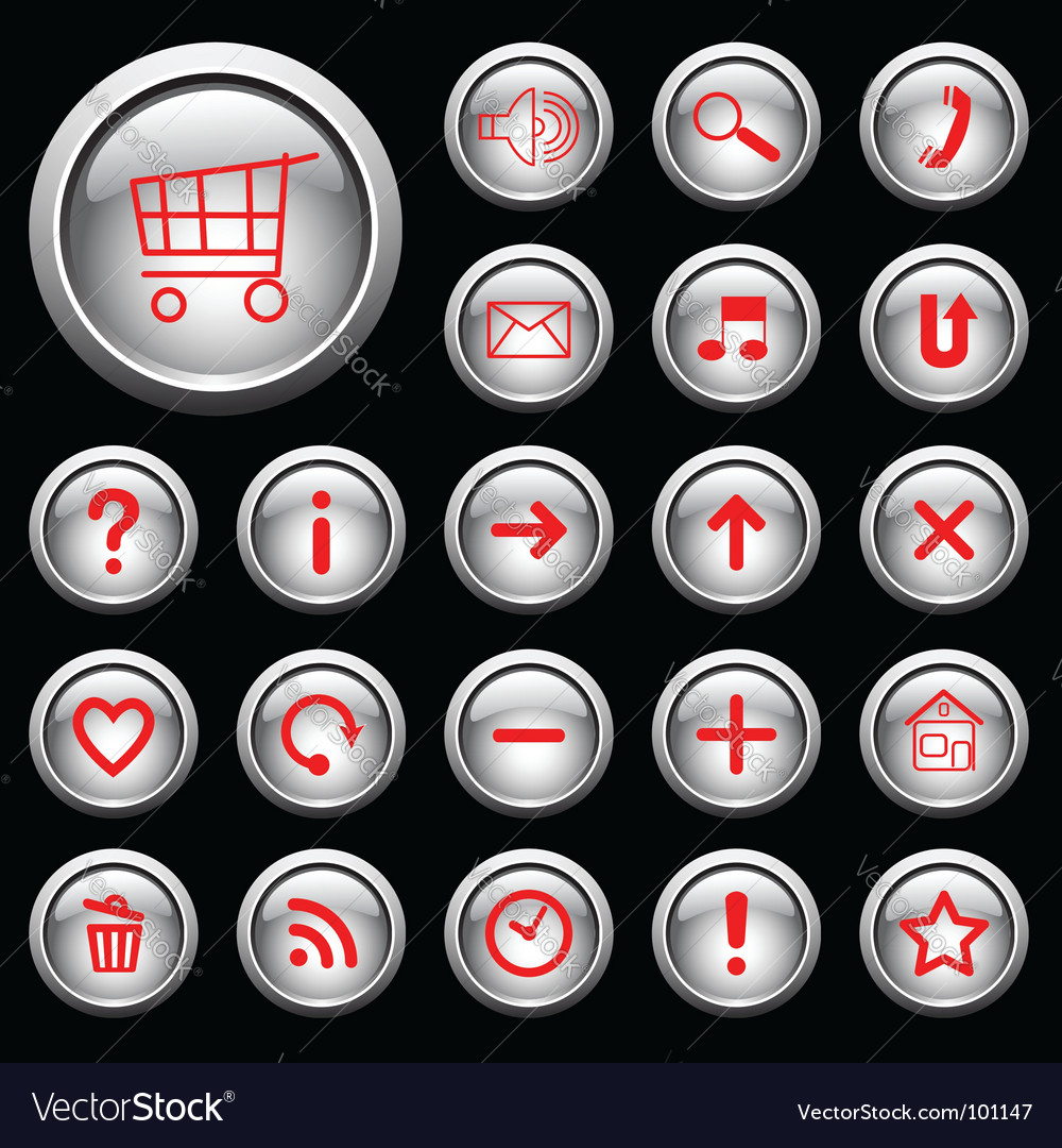 Glossy buttons with symbols vector | Price: 1 Credit (USD $1)
