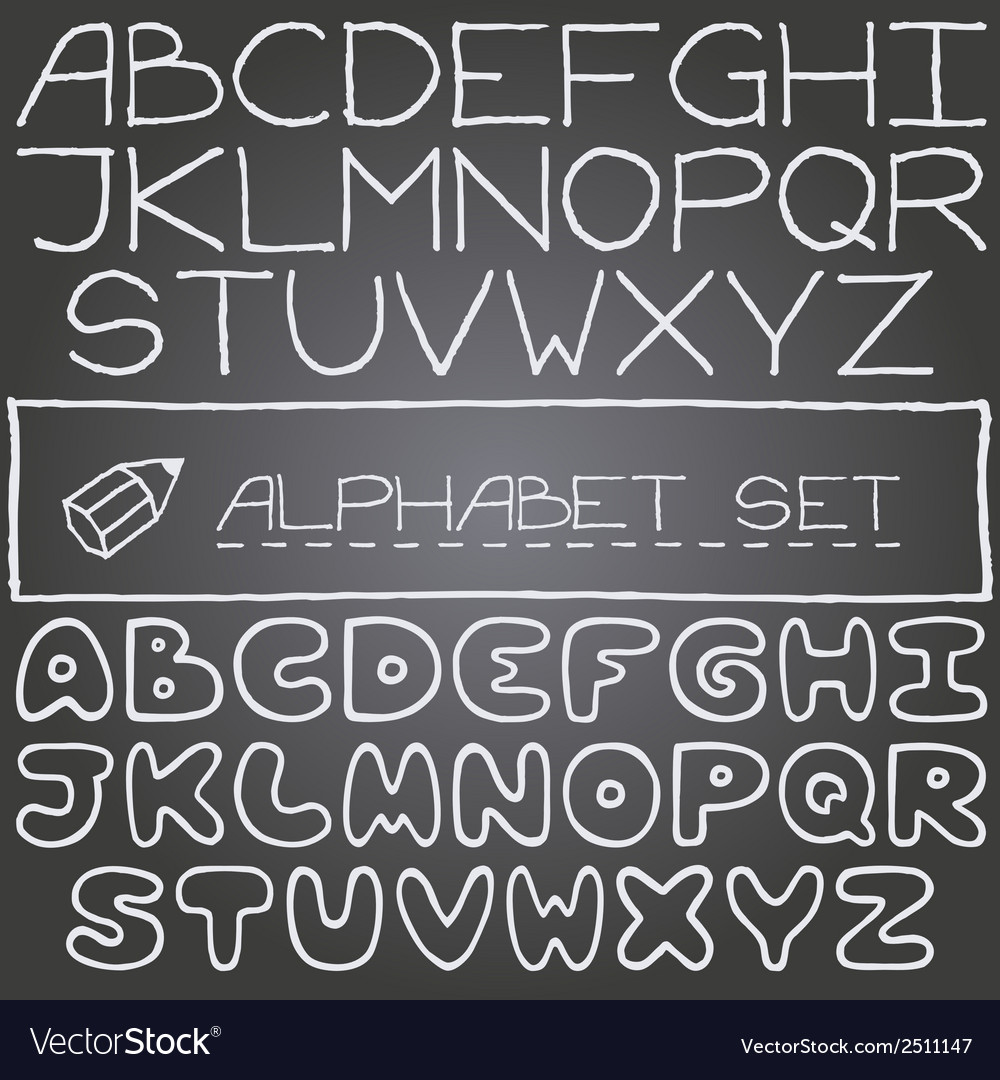 Hand drawn set on letters 2 full alphabets vector | Price: 1 Credit (USD $1)