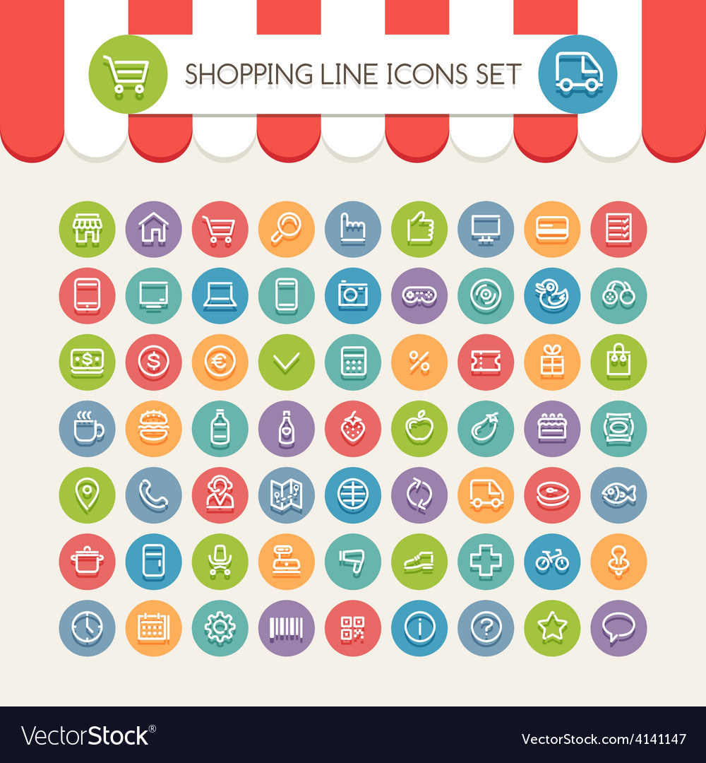 Market line icons vector | Price: 1 Credit (USD $1)