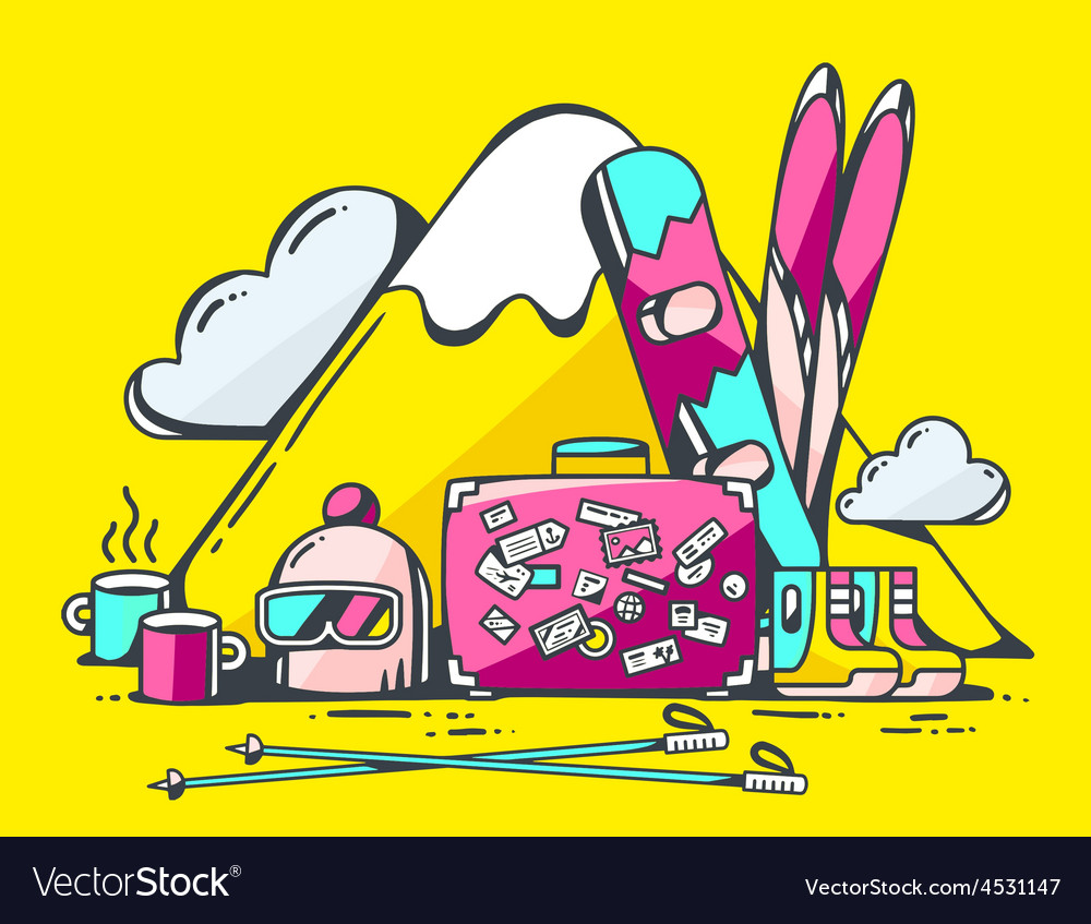 Pink suitcase and winter travel accessori vector | Price: 1 Credit (USD $1)