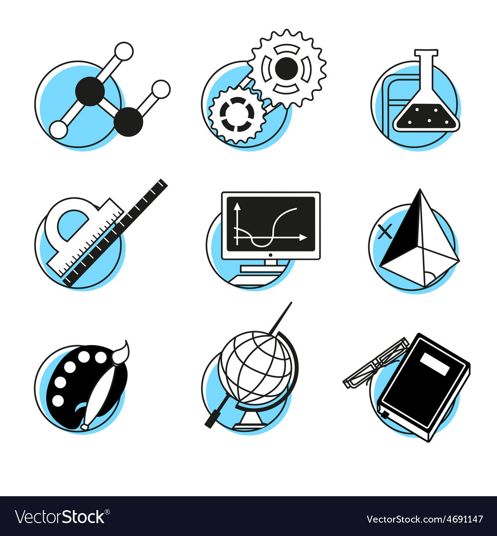 Science linear icons set school lessons vector | Price: 1 Credit (USD $1)
