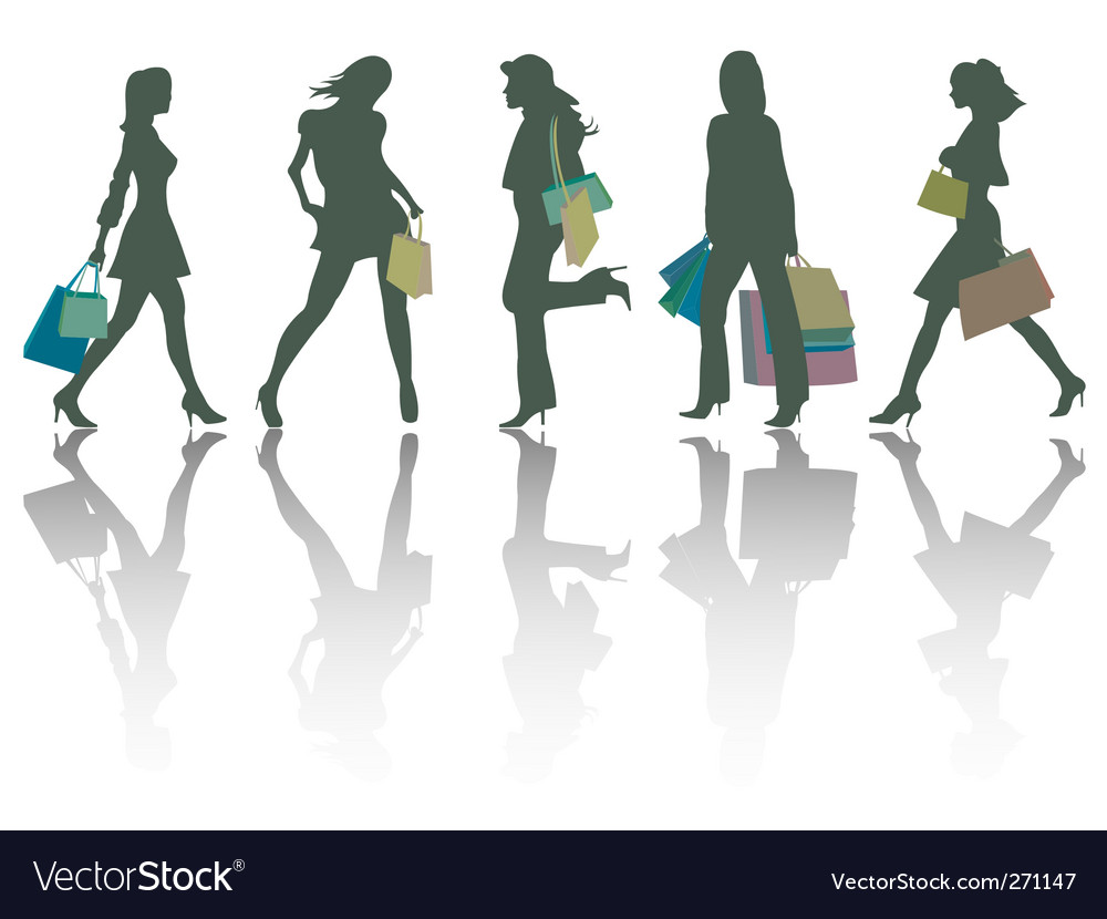 Shopping girls silhouettes vector | Price: 1 Credit (USD $1)