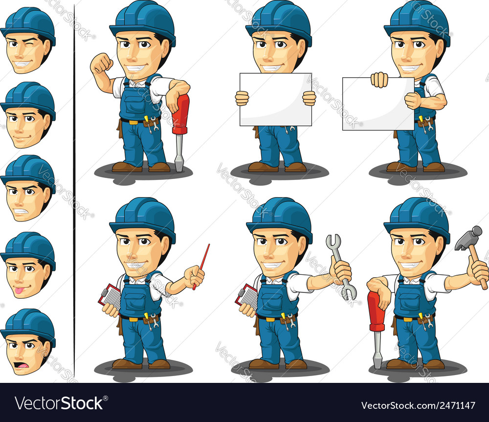 Technician or repairman mascot vector | Price: 1 Credit (USD $1)