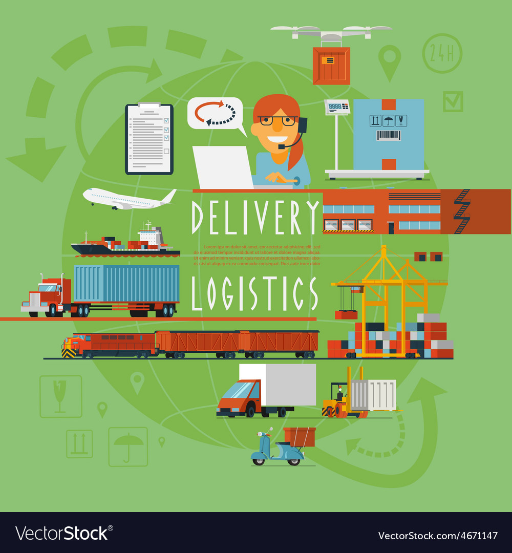 Worldwide transportation logistic concept poster vector