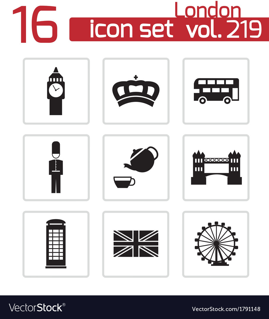 Black london icons set vector | Price: 1 Credit (USD $1)