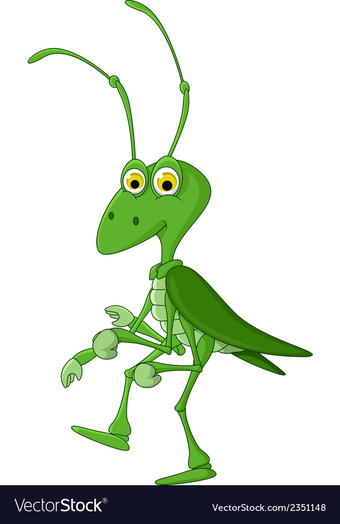 Cute grasshopper cartoon walking vector | Price: 1 Credit (USD $1)