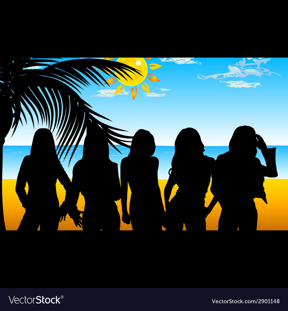 Girl five on beach for background vector | Price: 1 Credit (USD $1)