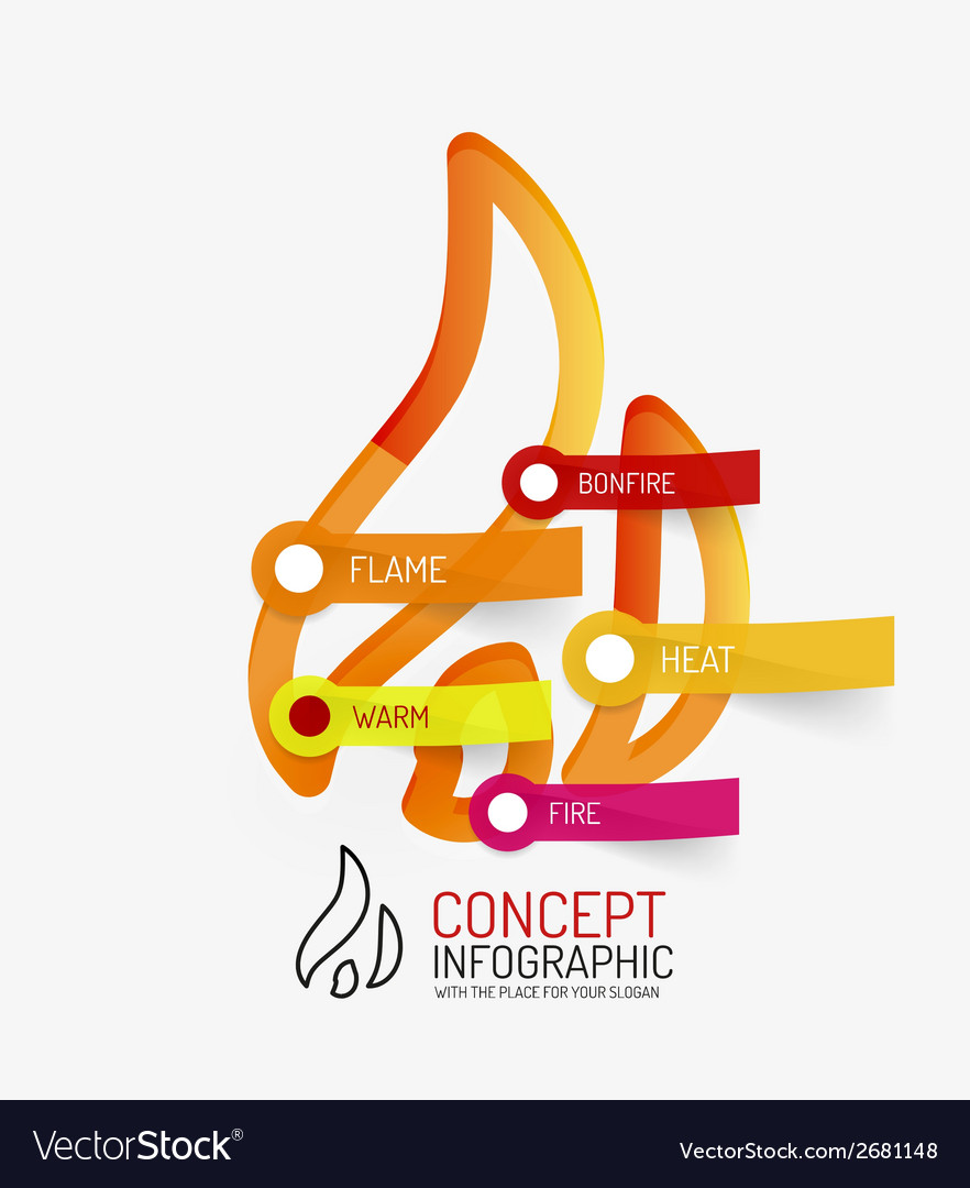 Hot bonfire line style infographic concept vector | Price: 1 Credit (USD $1)