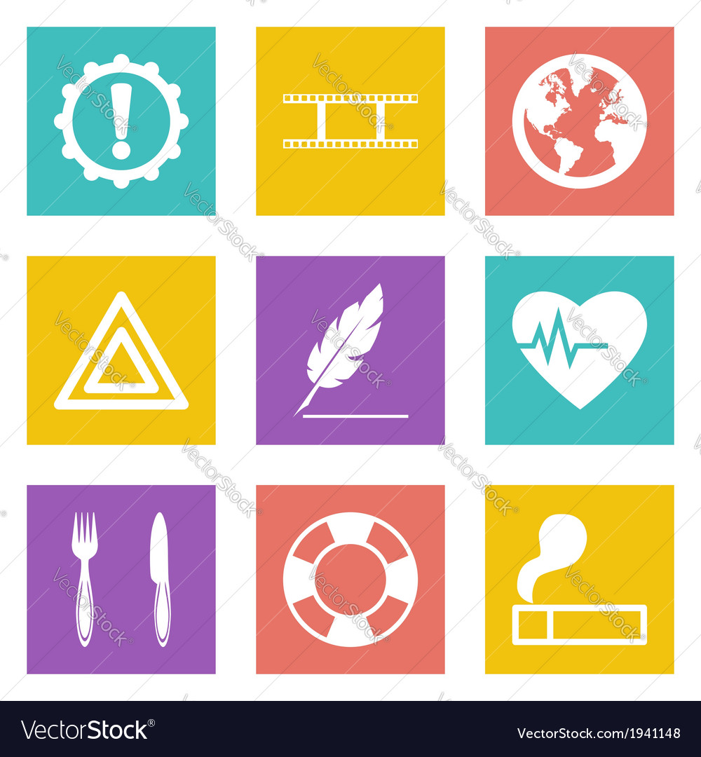 Icons for web design and mobile applications set 9 vector | Price: 1 Credit (USD $1)
