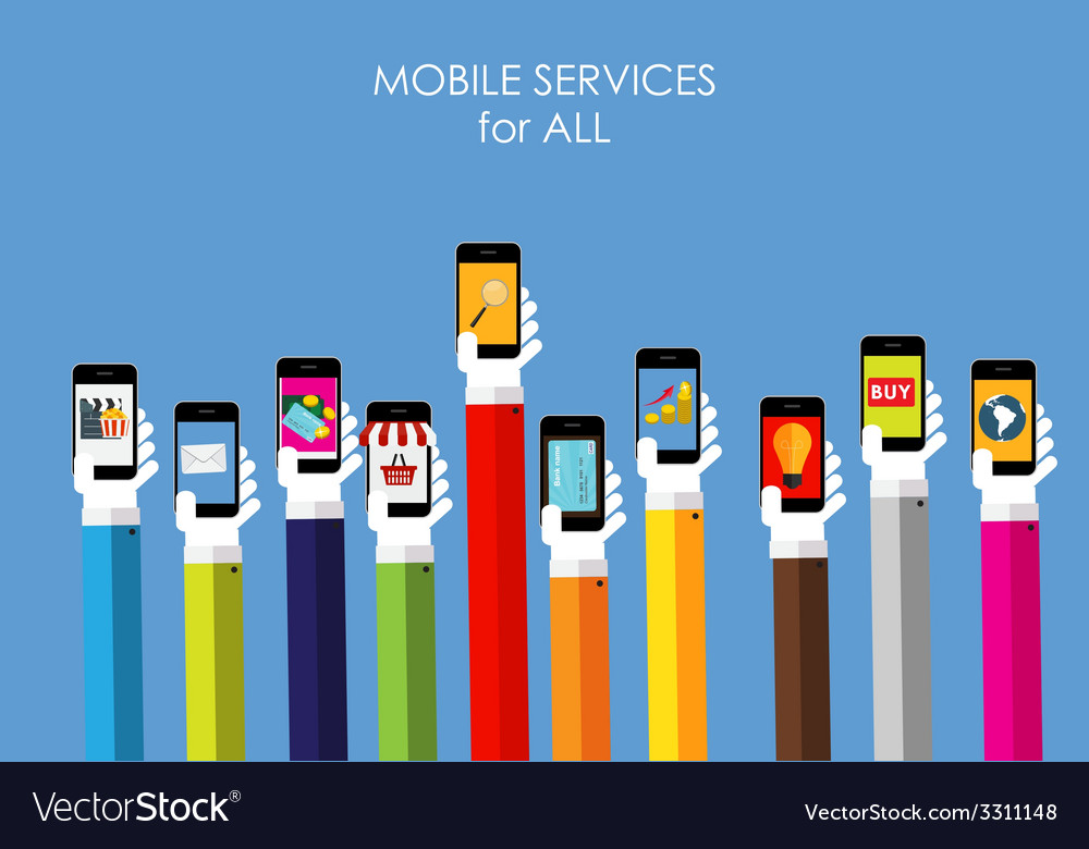 Mobile services flat concept for web marketing vector | Price: 1 Credit (USD $1)