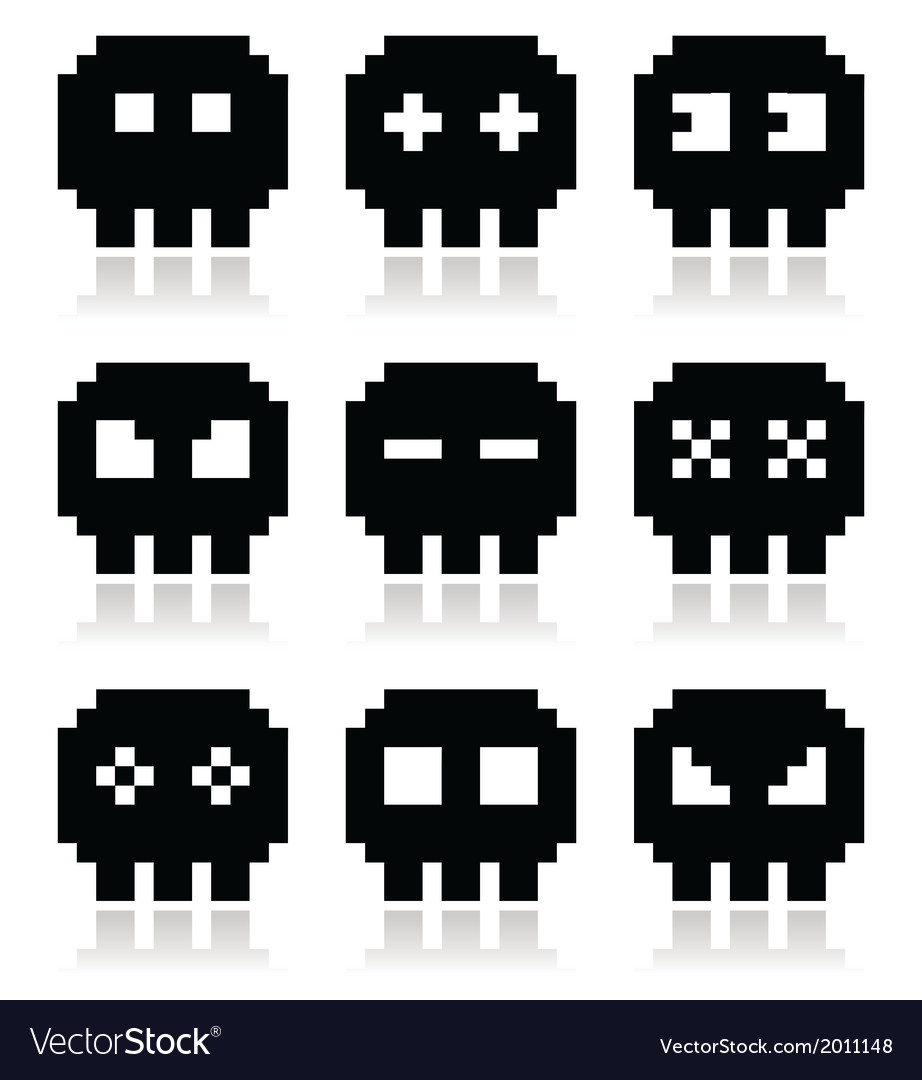 Pixelated 8bit skull icons set vector | Price: 1 Credit (USD $1)