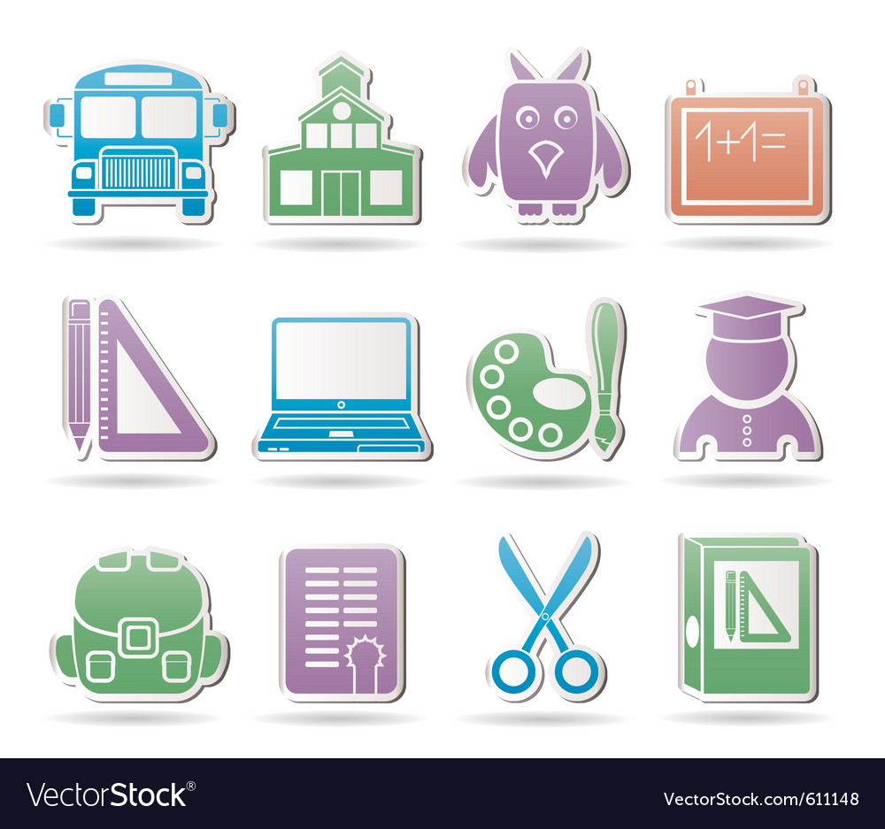 School and education objects vector | Price: 1 Credit (USD $1)