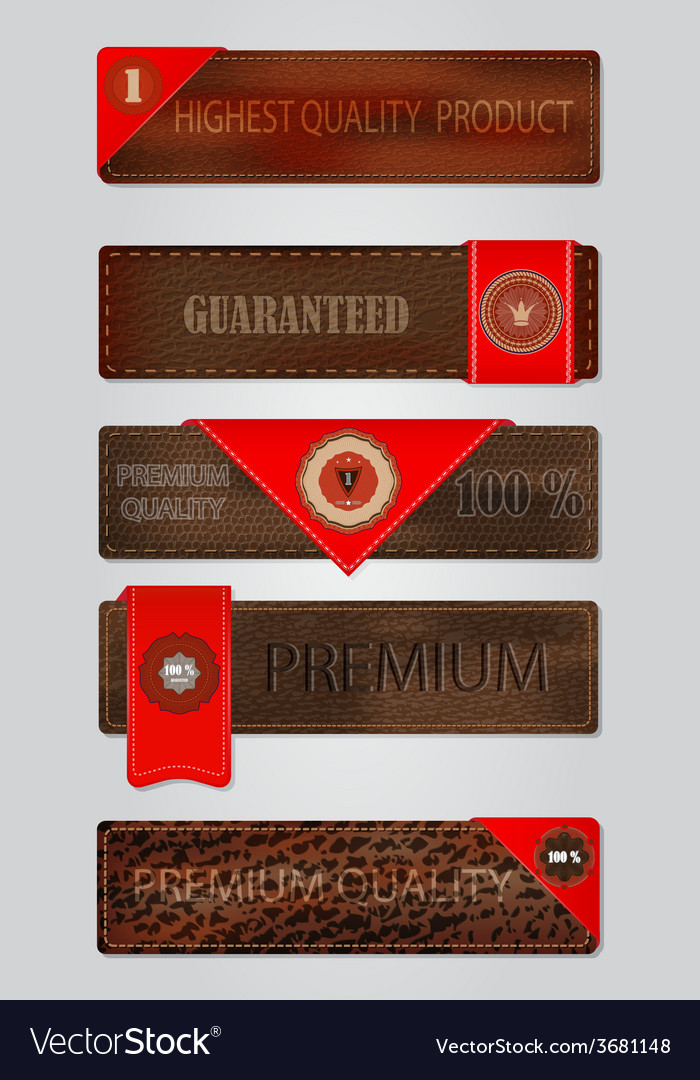 Set of leather premium quality labels and emblems vector   Price: 1 Credit (USD $1)