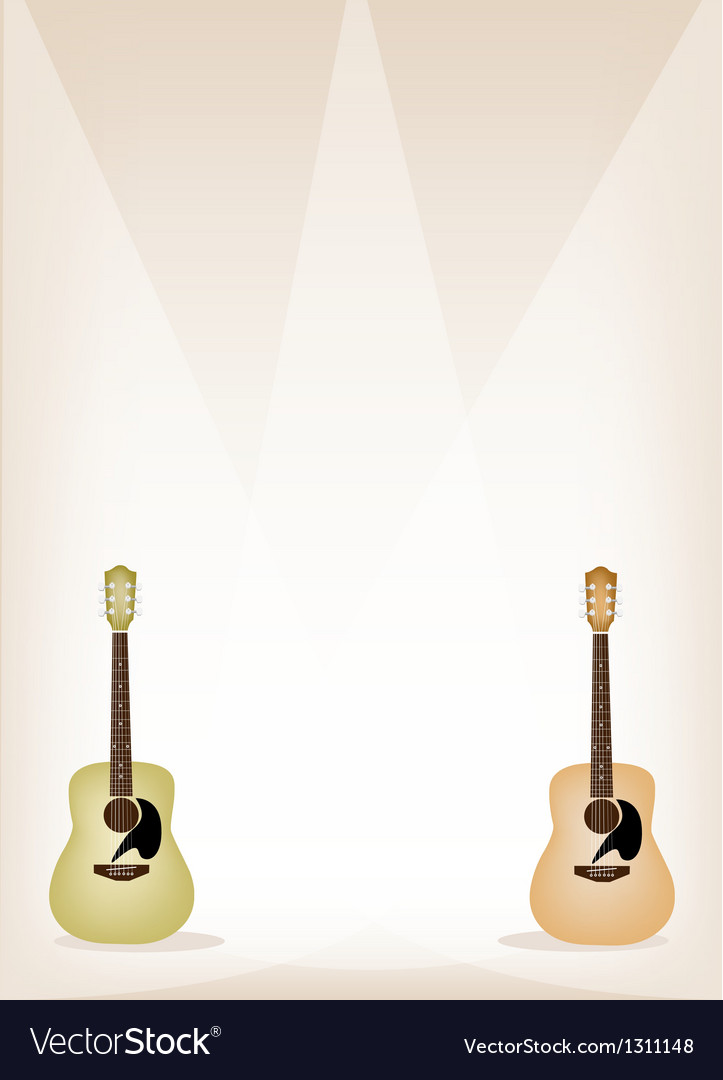 Two beautiful guitar on brown stage background vector | Price: 1 Credit (USD $1)
