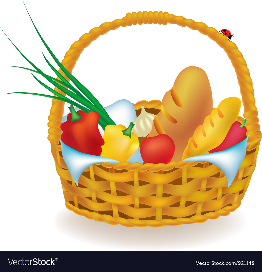 Wicker picnic basket vector | Price: 1 Credit (USD $1)