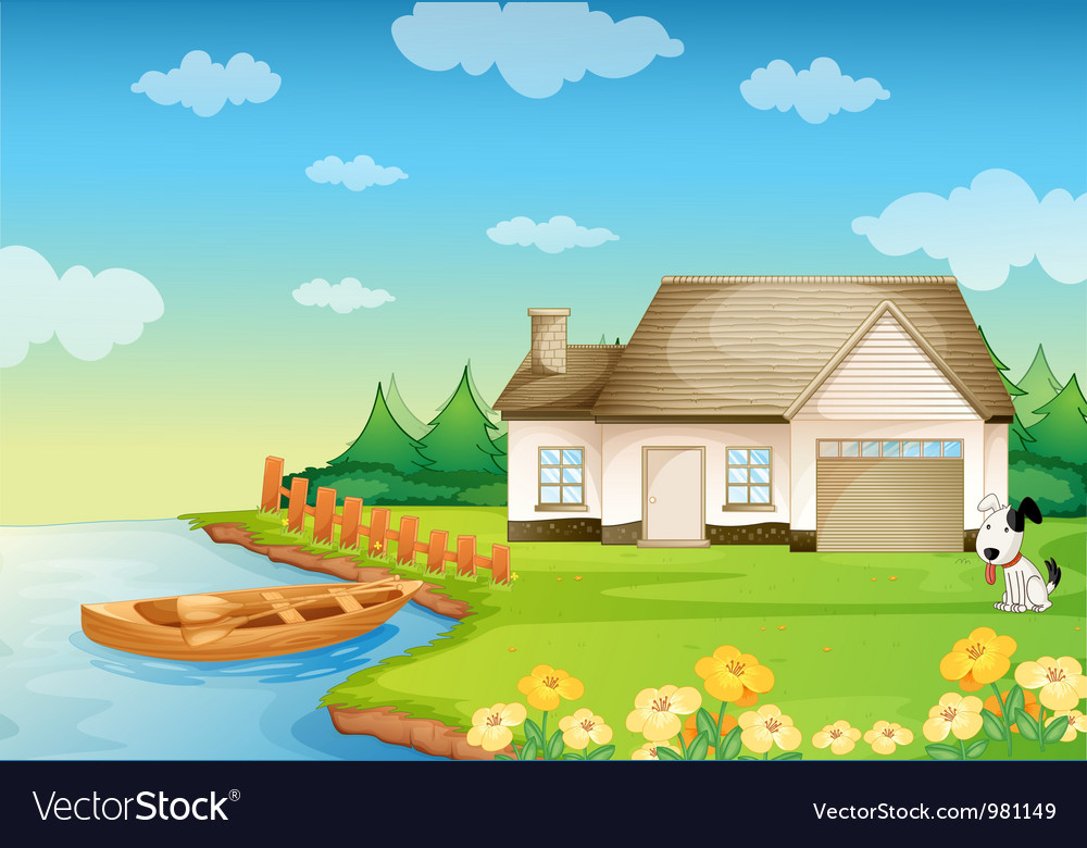 A house on the bank vector | Price: 3 Credit (USD $3)