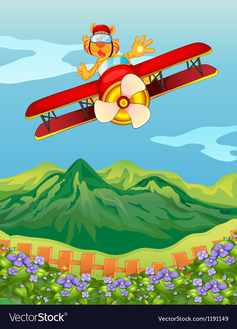 A tiger riding in an airplane vector | Price: 1 Credit (USD $1)