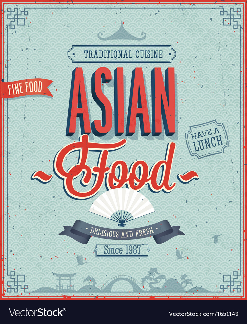 Asian menu color vector | Price: 1 Credit (USD $1)