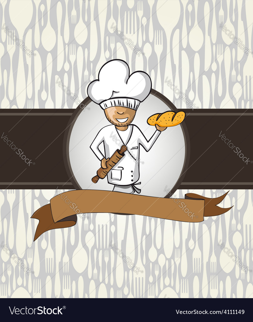Baker chef cartoon menu badge vector | Price: 1 Credit (USD $1)