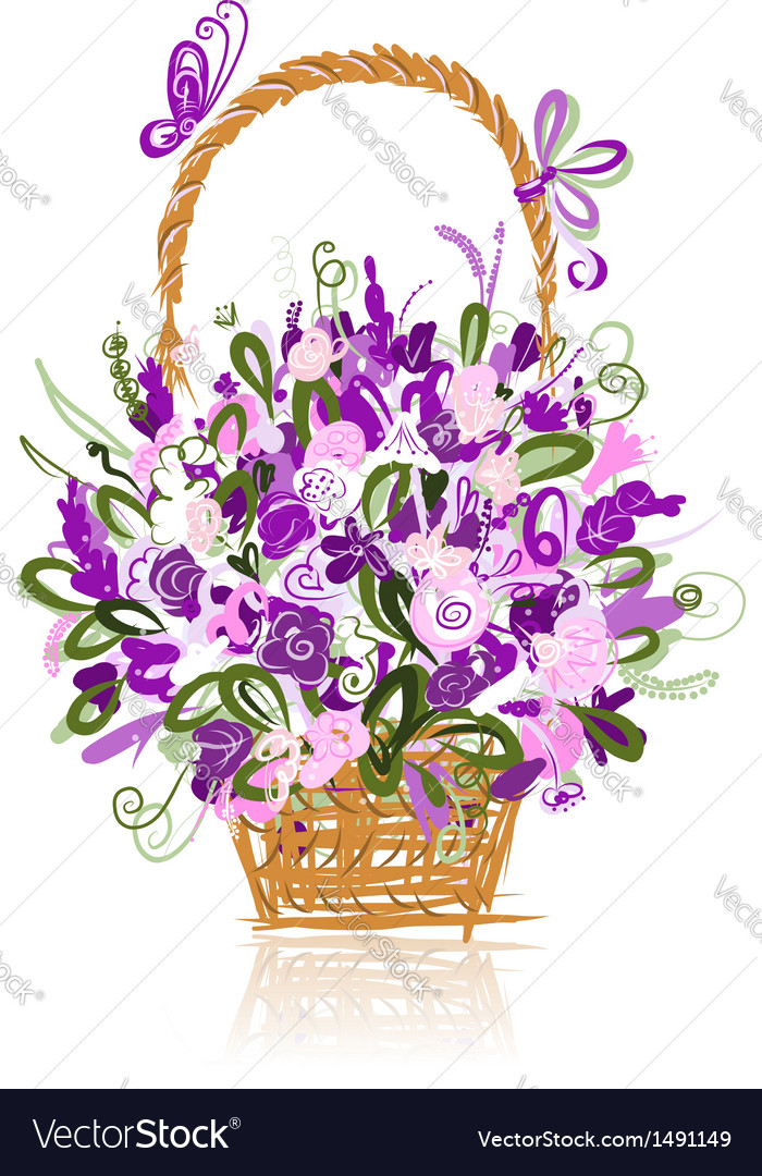 Basket with flowers for your design vector | Price: 1 Credit (USD $1)