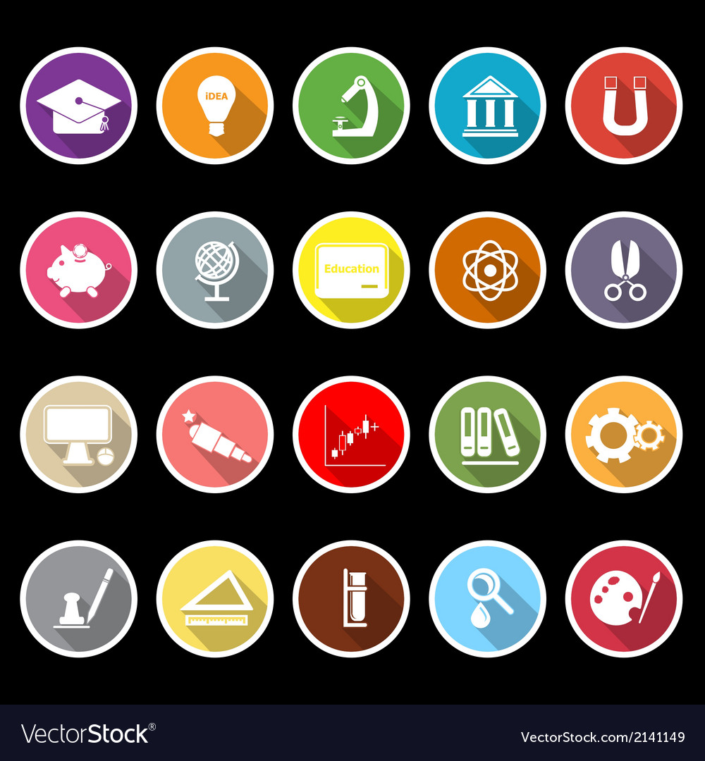 Education icons with long shadow vector | Price: 1 Credit (USD $1)