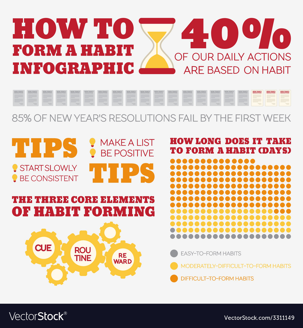 Flat style infographics habits vector | Price: 1 Credit (USD $1)